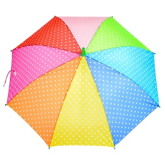 Ombrello luminoso colorato a pois isolato su uno sfondo bianco, close-up. ombrello aperto color arcobaleno.