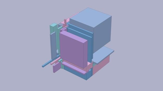 Cubo rotto colorato. effetto schizzo. illustrazione astratta, rendering 3d.