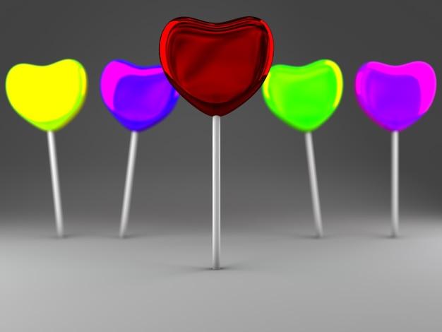 Caramelle colorate su stick 3d render