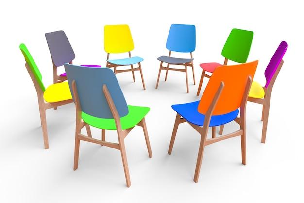 Sedie colorate stanno in cerchio su uno sfondo bianco. il concetto di comunicazione.