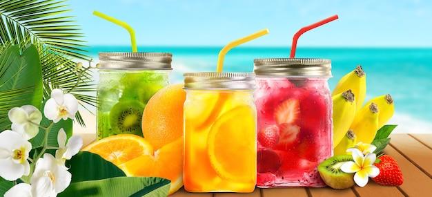 Collage colorato di deliziosi cocktail, limonata, bevande fredde estive, bastoncini di ghiacciolo e frutta