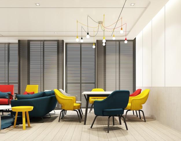 Sala da pranzo colorata interior design interno con parete caratteristica in tono rosso blu giallo e grigio con tavolo da pranzo sedia su pavimento in legno, soffitto e tenda in legno alla grande finestra 3d render