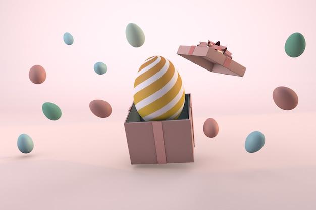 Uova di pasqua colorate e confezione regalo rosa su sfondo pastello. rendering 3d