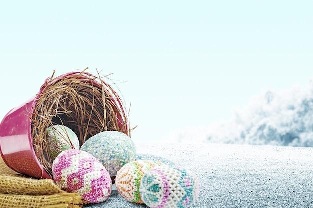 Uova di pasqua colorate versate dal nido in un secchio rosso con tessuto sul campo. buona pasqua