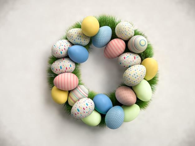 Corona di pasqua colorata fatta di uova colorate ed erba verde. rendering 3d realistico.