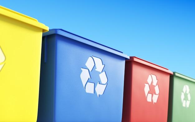 Cestini della spazzatura colorati dedicati per la raccolta differenziata dei rifiuti, illustrazione 3d
