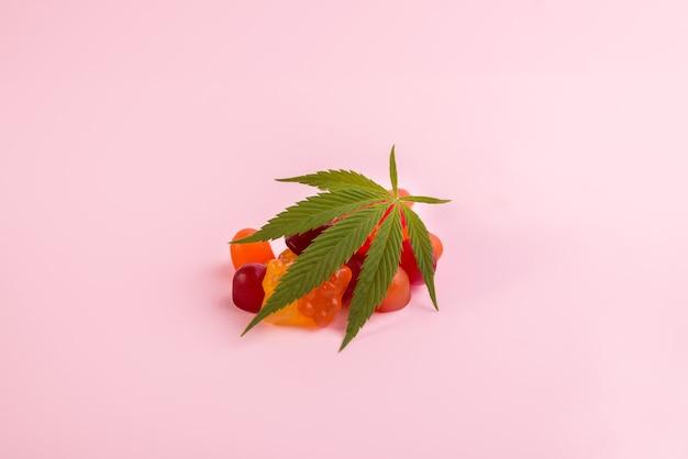 Orsetti gommosi colorati fatti di cannabis medica marijuana con foglia verde fresca di cannabis su sfondo rosa. prodotto medico cbd e thc.