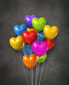 Gruppo di palloncini d'aria colorati a forma di cuore su uno sfondo scuro di cemento. rendering di illustrazione 3d