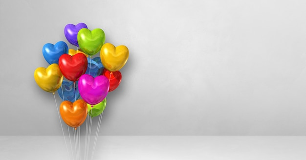 Mazzo di palloncini colorati a forma di cuore su uno sfondo di muro bianco. banner orizzontale. rendering di illustrazione 3d