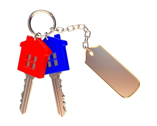 Chiavi colorate a forma di casa con etichetta vuota