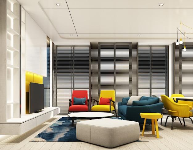 Colorato soggiorno interno interior design con parete caratteristica in tono rosso blu giallo e grigio con mobile tv e poltrona divano su pavimento in legno, soffitto e tenda in legno alla grande finestra 3d render