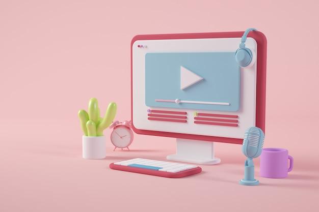 Rendering 3d desktop colorato e minimale