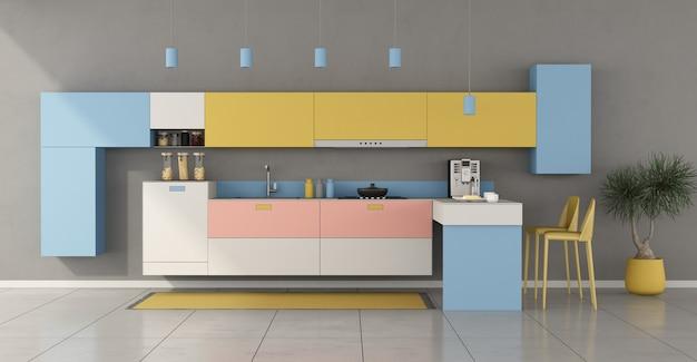 Cucina minimalista colorata con penisola e sgabelli - rendering 3d