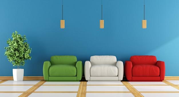 Soggiorno moderno colorato con poltrone