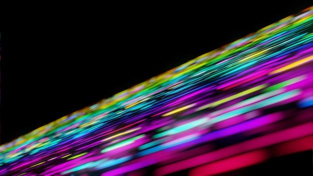 Volo futuristico variopinto di comunicazione di dati del flusso della luce al neon nella rappresentazione tecnologica digitale di animazione 3d