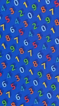 Modello di numero colorato. sfondo blu. illustrazione astratta, rendering 3d.