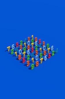 Numeri colorati. sfondo blu, illustrazione astratta, rendering 3d.