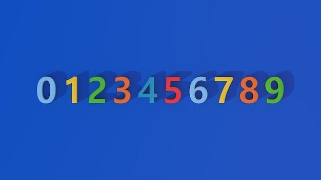 Riga di numeri colorati. sfondo blu. illustrazione astratta, rendering 3d.