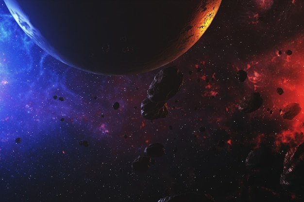 Spazio esterno colorato con asteroidi e pianeta