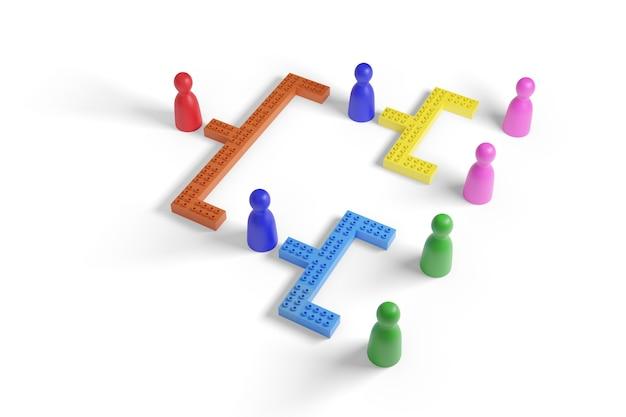 Pedine colorate e blocchi che rappresentano una struttura gerarchica isolata su sfondo bianco. illustrazione 3d.