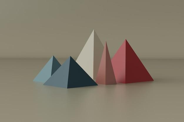 Piramidi colorate isolate su beige
