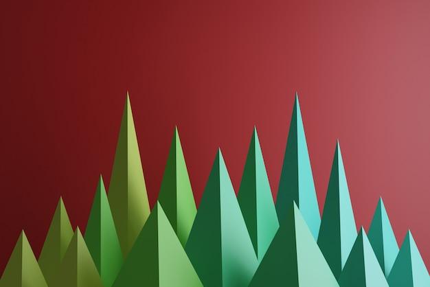 Piramidi colorate isolate sul rosso