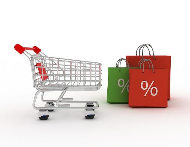 Borse della spesa colorate e carrello della spesa. concetto di sconto. 3c reso illustrazione