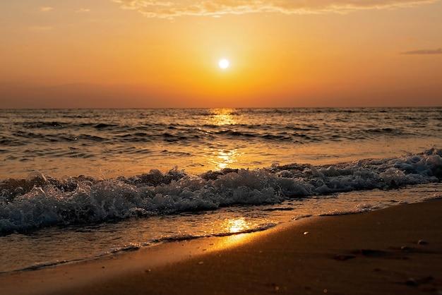 Tramonto colorato su una spiaggia di sabbia, onde con schiuma sulla sabbia. oceano, costa.