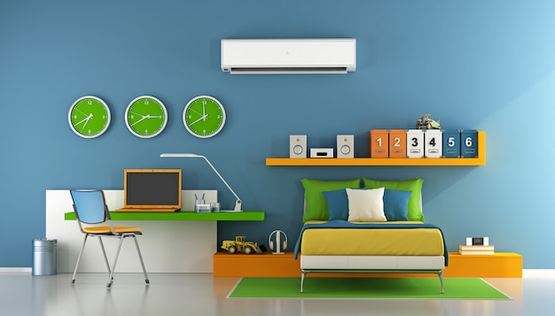 Camera da letto adolescente colorata con ufficio