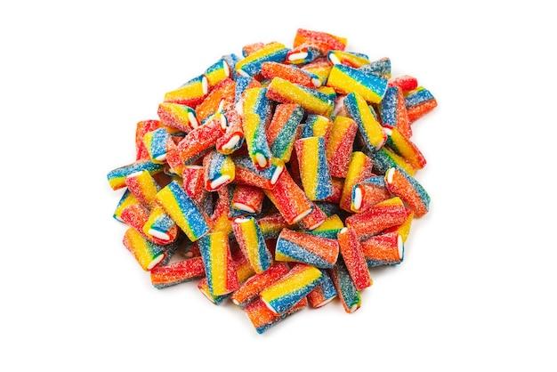 Tubi colorati, caramelle di gelatina. vista dall'alto.