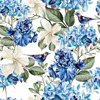 Modello acquerello colorato con fiori ortensia, ibisco, iris e uccelli. illustrazione