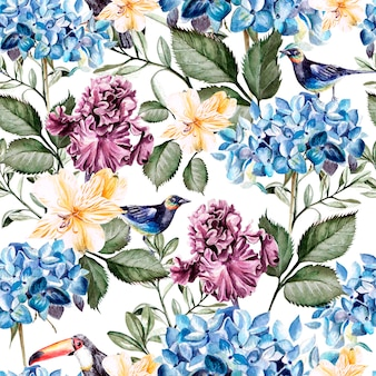 Modello acquerello colorato con fiori ortensie, alstroemeria, iris e uccelli. illustrazione