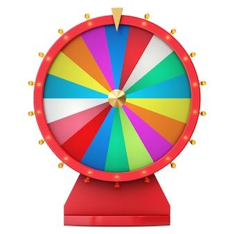 Ruota colorata di fortuna o fortuna. ruota della fortuna di filatura realistica. spinga la fortuna isolata su fondo bianco, l'illustrazione 3d