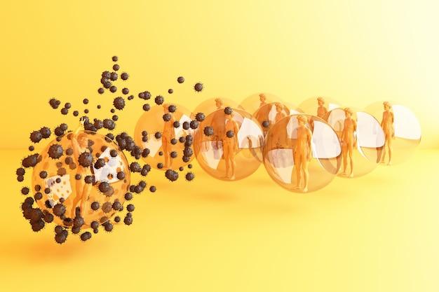 Strategia di distanziamento sociale di persone di colore con modello umano in vetro sfera sfera che circonda da un sacco di rendering 3d virus