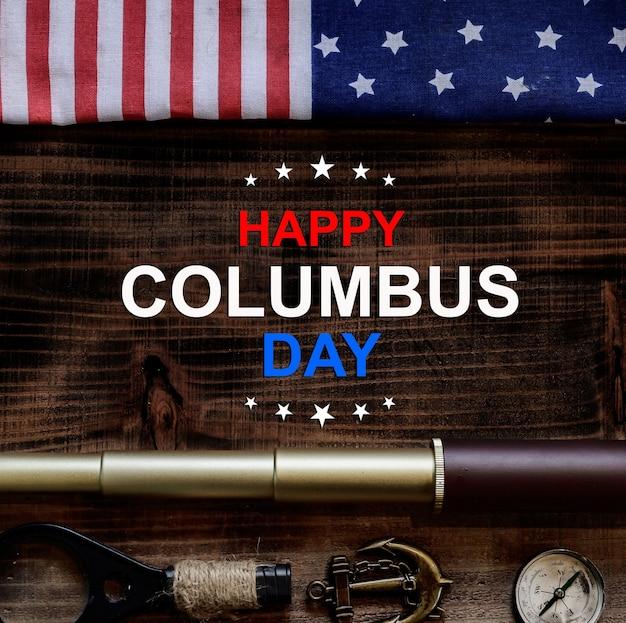 Giorno di colombo. mappa e scoperta di vecchie attrezzature. esplorazione e storia dell'america in ottobre. Foto Premium