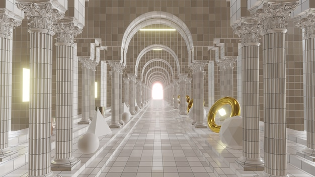 Ordini di colonne in greco classico sfondo per l'architettura pubblicitaria e la scena edilizia