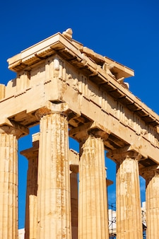 Colonne del tempio del partenone in acropoli di atene, grecia