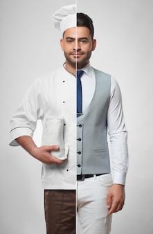Ritratto combinato di un bel giovane vestito da uomo d'affari e come chef di cucina persone lifestyle collage professioni occupazione lavori carriera successo concetto di diversità.