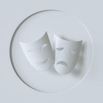 Simbolo delle maschere teatrali della commedia e della tragedia icona della maschera teatrale