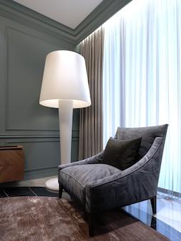 Sedia comoda con una grande lampada da terra bianca nella stanza. rendering 3d
