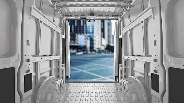 Furgoni per consegne commerciali rendering 3d della società di servizi di trasporto