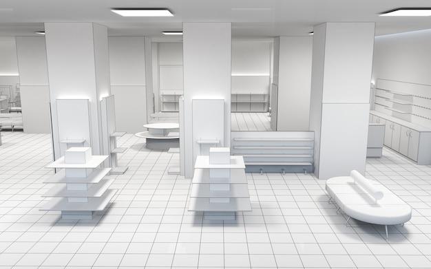 Visualizzazione interna del negozio di locali commerciali Foto Premium
