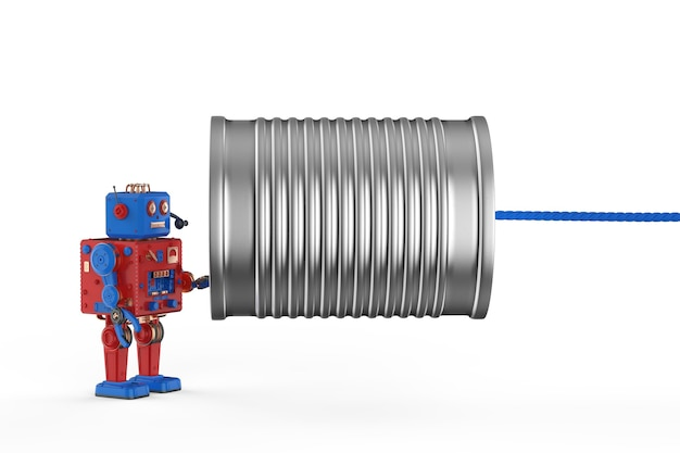 Concetto di tecnologia di comunicazione con robot di rendering 3d che tiene il telefono del barattolo di latta