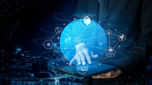 Tecnologia di comunicazione rete internet wireless per la crescita del business globale