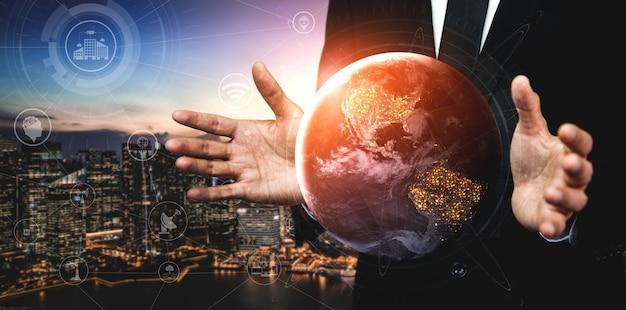 Tecnologia di comunicazione rete internet wireless per il business globale