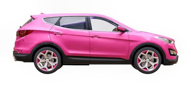 Colore rosa crossover compatto della città su sfondo bianco. rendering 3d.