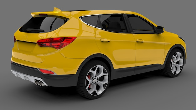 Crossover urbano compatto colore giallo su superficie grigia