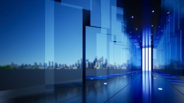 Pannelli di vetro blu sullo sfondo dell'azienda lungo l'illustrazione 3d del corridoio esteso