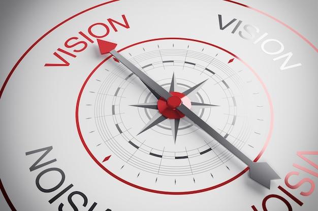 Freccia della bussola che punta alla parola visione