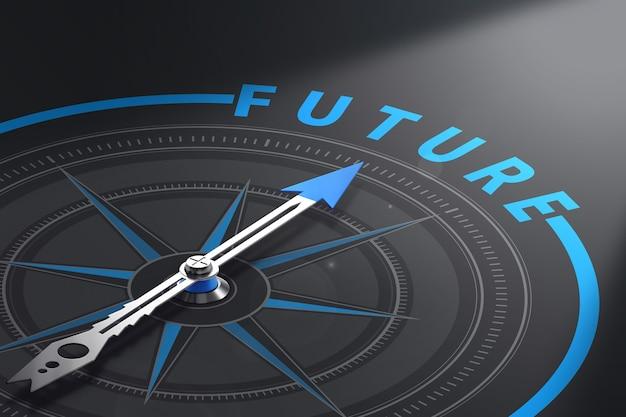 Bussola con l'ago rivolto verso la parola futuro, sfondo nero. concetto per visione aziendale o soluzioni prospettiche. illustrazione 3d